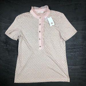 Tory Burch sz Med Pink & Black Polka Dot Linen Top
